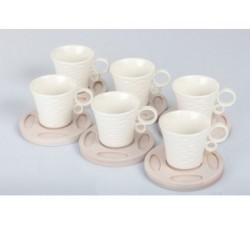 Set 6 tazzine porcellana con piattino legno di bambù da 90cc A7629 Tazzine e Zuccheriere 24,51€