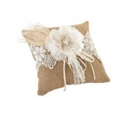 Cuscino in juta con fiore bianco LRRP560 Cuscini fedi 26,23€