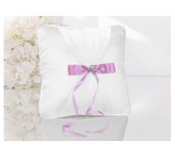 Cuscino porta fedi bianco con nastro rosa e cuori PKW1 Cuscini fedi 29,28€