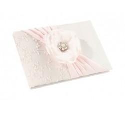 Guest book pizzo bianco e rosa con rosa e strass LRGB340 Guest book 35,72€