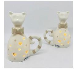 Gatto Gattino In Porcellana Con Luce Led INGR52349 Home 5,86€