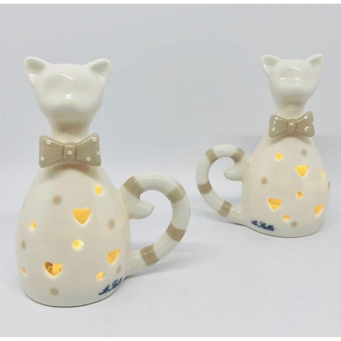 Gatto Gattino In Porcellana Con Luce Led