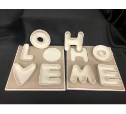 """Vassoio legno con ciotole porcellana """"Love"""" e """"Home"""" G.CB1500 Gadget 30,00€"""