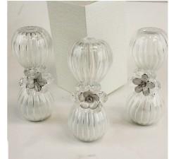 Clessidra in vetro con Fiori in cristallo e Madreperla Tema Tempo per Matrimonio Comunione Cresima DM.29867 Bomboniere 14,00€