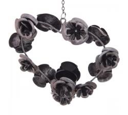 Portacandela Decorativo In Metallo Con Cuore Di Rose Effetto Anticato IR.PUHAN17 BOMBONIERE 35,13€