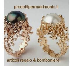 Prodotto Artigianale Anello in oro rosa e oro giallo con perla naturale.. Possibile esecuzione anche in argento MG.06 GIOIELL...