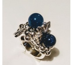 Anello in argento 925 con pietra naturale agata blu MG.001 Gioielleria 190,00€