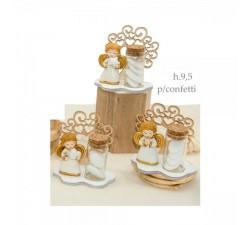 Provetta vetro portaconfetti con base legno e angelo resina con dettagli oro. Ass 3. CM 9.5 E049925 Home 6,00€