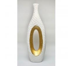 MADAGASCAR Vaso In Ceramica Bianco E ORO 56 Cm MADE IN ITALY GLA21/GD7603 BOMBONIERE 130,00€