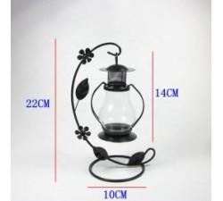 Lanterna Metallo Portacandela Con Fiore Colore Scuro 10*14*22cm CD2022NW541 BOMBONIERE 14,00€