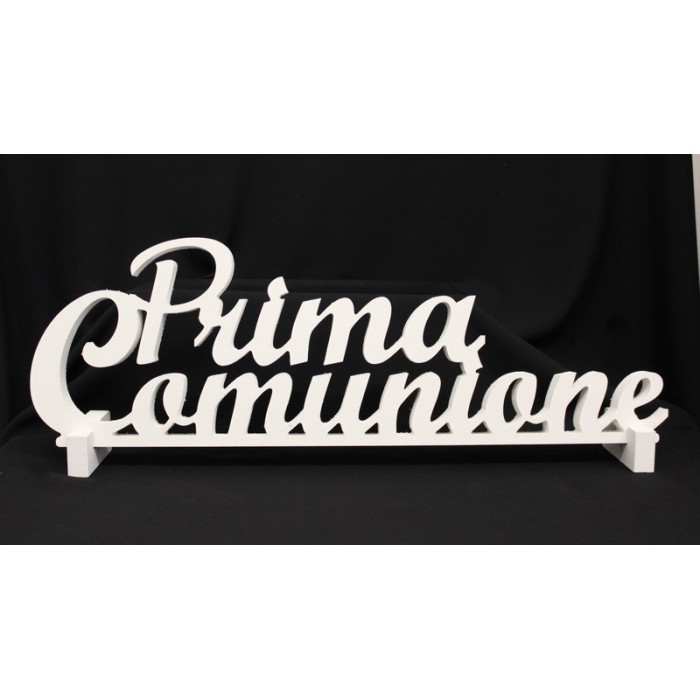 """Scritta legno bianca da appoggio """"Prima comunione"""". CM 62"""