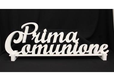 """Scritta legno bianca da appoggio """"Prima comunione"""". CM 62 GB.CB144 Comunione 10,41€"""