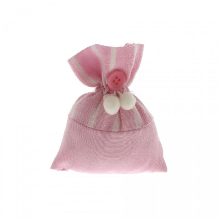 Sacchettino bag rosa a righe bianco cm 8x10
