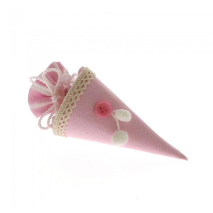 Sacchettino cono rosa a righe bianco cm 14