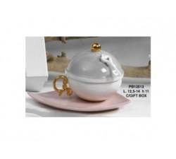 SET ZUCCHERIERA CON PIATTINO 12.5 PORCELLANA CON SCATOLA PB13513 Porcellana e Ceramica 19,52€