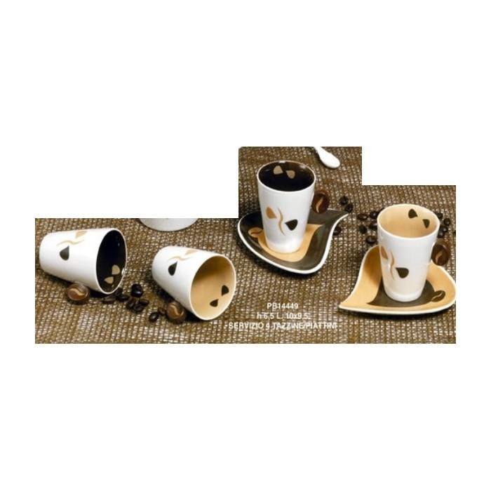 SET 4 TAZZINEE 4 PIATTINI CAFFE' 6.5 CM.PORCELLANA