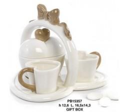 SET 2 TAZZINE CON ZUCCHERIERA E VASSOIO 16.5 CM.PORCELLANA PB15357 Porcellana e Ceramica 24,40€