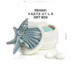 SCATOLA CON STELLE MARINE E COCNCHIGLIE 8 CM. PORCELLANA PB16331 Porcellana e Ceramica 7,32€